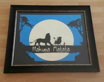 Framed Hakuna Matata Paper Cut, It Means No Worries For The Rest Of Your Days, Lion, Warthog, Meerkat, Birthday Gift, Gift For Him Or Her