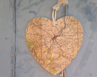 Wooden Recycled Map Hearts