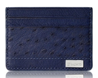 D'Monti Navy Blue Black Friday Gift - France Luxury Genuine Real Ostrich Leather Mens Womens Unisex Credit Card Holder Slim Wallet