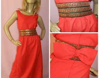 Vintage 60s 70s Red/Gold BOW Back BAROQUE maxi dress 10-12 1960s 1970s Bohemian Evening Christmas Ornate Unique Mod