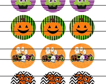 Halloween, Cupcake Toppers, 2 Inch Circles, Stickers, pumpkins, Bottle Cap Images ,Digital File, instant download, Boo,