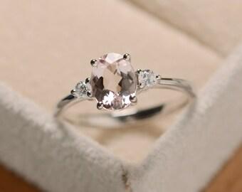 Morganite ring silver, pink gemstone ring, sterling silver, oval morganite ring