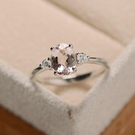 morganite ring silver pink gemstone ring sterling silver