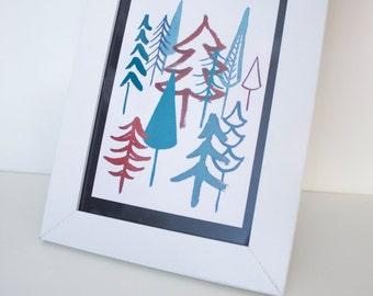 Postcard Christmas fir trees