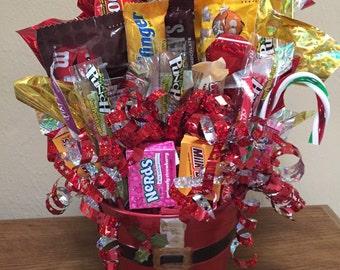 Santa Pail Candy Bouquet