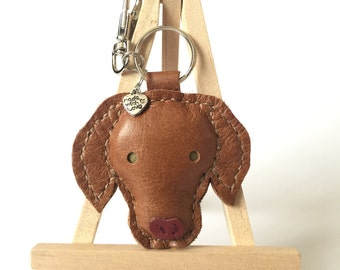 Hungarian Vizsla Leather Key Ring Keychain Charm  - Leather Hungarian Vizsla Bag Charm Zipper Charm Vizsla Gifts UK