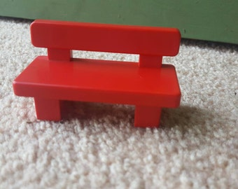 Playmobil 123 Red Park Bench 1990