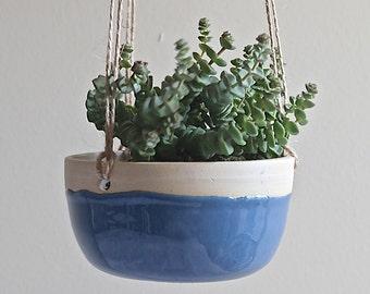 Hand Thrown Hanging Planter - Cornflower Blue - Ready to Ship