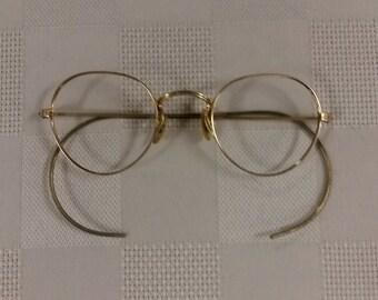 1930s ArtCraft 12KGF Gold P3 Round Eyeglasses Frame w/Flex Wrap Temples; Rx-able; No Lenses; Authentic Vintage