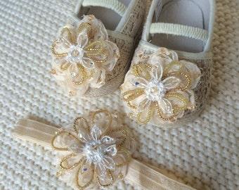 Swarovski and beads shoes,baptism shoes,christening shoes,ivory shoes,baptism headband,baptism set,christening headband,infant shoes,baby
