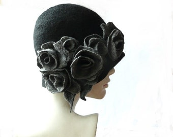 Cloche felt hat felted hat black hat felt hats Cloche Hat 1920 Hat Art  Black Hat Cloche Victorian 1920's  Women's hat grey roses