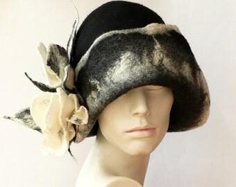 Black Felt hat Felted Hat Cloche Hat Fapper 1920 Hat Art  Gray Hat Cloche Victorian 1920's  Wool Formal hat black hat Women's hat