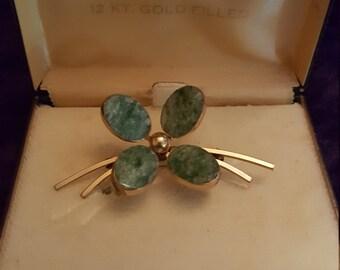 Vintage Bal Ron 12K Gold Filled Green Stone Flower Pin Brooch in Original Box