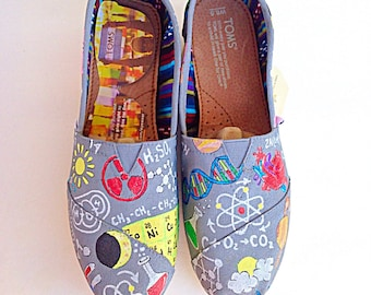 Custom science teacher hand painted TOMS - scientist canvas shoes - teacher shoes - chemistry teacher gift - adult fashion footwear - specia
