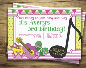 Music Birthday Party Invitation Drum Music Circle First