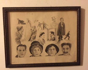 Framed Marx Brothers Print by Glen Banse 1975