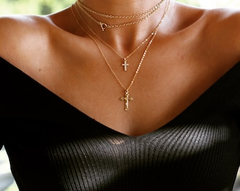 Cross Necklace, Small Gold Cross Necklace, Dainty Cross Necklace, Layering Cross Necklace, Tiny Cross Necklace, Crucifix Necklace, Cross