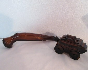 Vintage Amber Avon Gun and Stage Coach Cologne Decanters