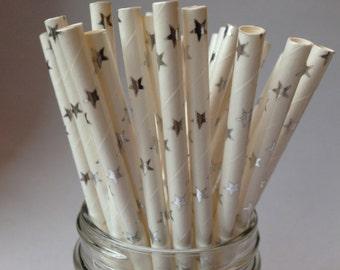 Silver Stars Straws, Silver Stars Paper Straws, Silver Straws, Wedding Straws, Silver Anniversary, Party Straws, magical theme party, 10 pcs