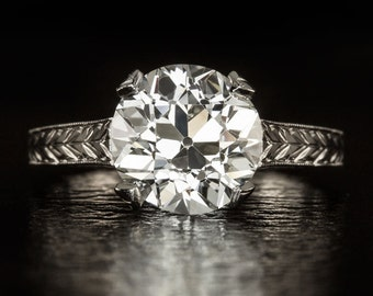 Certified Antique Old European Cut Diamond Engagement Ring Solitaire Vintage 2.31ct I VS2 EGL-USA Engraved 18K White Gold 9280 8476