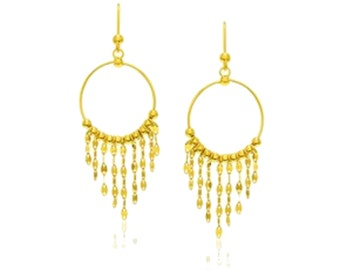 14kt Yellow Gold Pair of Chandelier Earring with Graduated Fringe Pattern