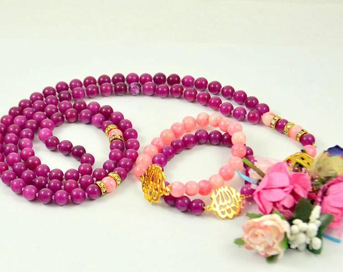 islamic gifts, muslim bridal gift, gemstone tasbeeh/ 99 beads/ flower rosary/ romantic rosary/ muslim rosary/ muslim tasbeeh/ turkish ta