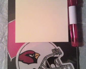 Arizona Cardinals magnetic Post it Note holder with pen