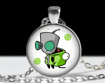"Invader Zim GIR Necklace-Animation Cartoon Nickelodeon Jhonen Vasquez Robot Comic Book Alien Jewelry-1"" Silver and Glass Pendant"