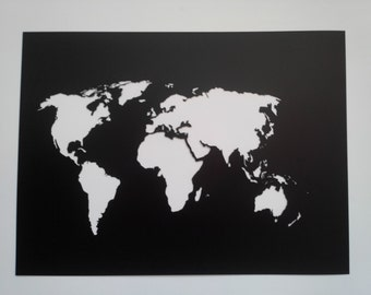 World Map Stencil / Plastic reusable / Painting, art supply, wall art / Custom size