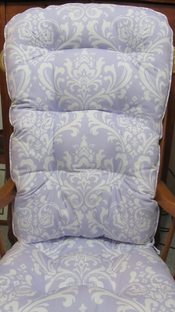 Purple Patio Chair Seat Cushions: Rocking Chair Or Glider Cushion Set In Lavender By