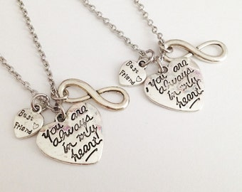 set of 2 heart necklace - you are always in my heart - best friend necklace - friendship gift - birthday