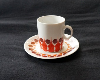 Jarolina Poland china cup and saucer from the seventies: orange and brown