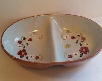 Stangl Garland Oval Divided Vegetable Dish #4067