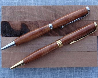 Curly California Redwood custom hand turned wooden pen