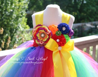 Rainbow tutu dress. Flower girl tutu dress. Birthday tutu. Candy land tutu dress. Pageant tutu dress. Vibrant rainbow tutu
