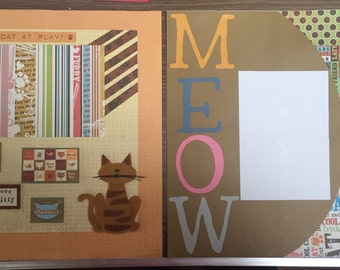Cat premade 12x12 scrapbook pages