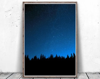 Sky Painting, Night Sky Print, Starry Sky, Night Photography, Galaxy Print, Stars Photo, Stars Painting, Navy Wall Art, Quiet Print Download