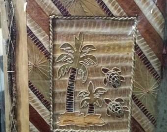 Handmade Photo album with leaves & sticks from Hawaii.