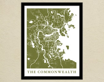 Fallout 4 The Commonwealth Map Print | Gamer Christmas Present | Boston Commonwealth Map Poster | Video Game World Map Art | Video Game Art