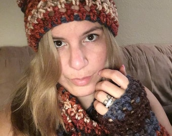Tortoiseshell Cat Beanie, Cowl & Fingerless Gloves Set