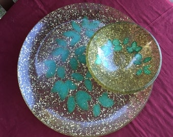 Vintage Gold Flecked Lucite Tray and Bowl Set with Teal Leaves-Gorgeous and Unique!