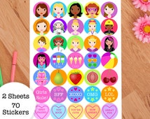 Cute Kids Stickers - Cool Girls Stickers - Gift For Kids - Party Bag Fillers