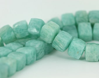 AA Brazilian Amazonite Faceted 8-9mm Cube Beads