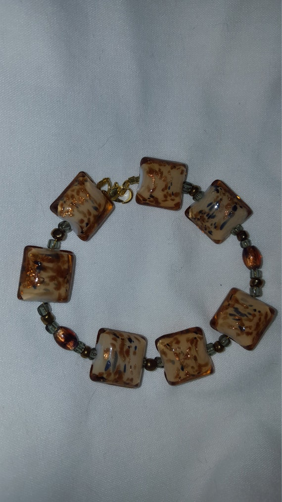 Fashion gold glass bead bracelet