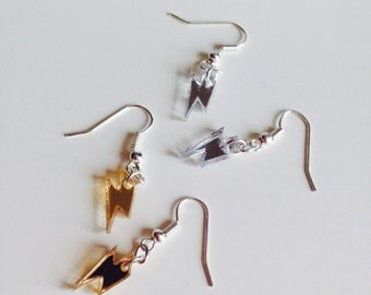 Lightning Bolt | Mirror | Bowie | Lady Gaga | Earrings | Laser Cut | Acrylic | Set | 2 Pack