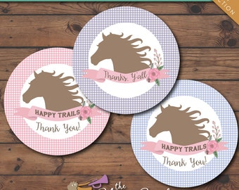 Pony Party Birthday Printable Favor Tags -- Instant Download