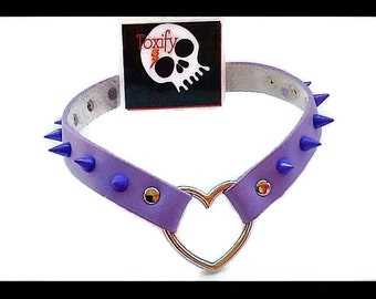 Purple Leather Spiked Heart Punk Choker Necklace