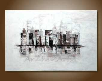 Cityscape Painting Brown and White Textured Large Art Original Abstract Painting Palette Knife Art Acrylic Paintings on Canvas Buildings Art