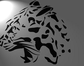 tiger puma . leopard stencil airbrush ,   mylar 125 microns , retro , africa , vintage ,paintbrush , aerograph