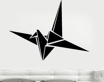 Wall Vinyl Decal Origami Crane Modern Contemporary Decor For Bedroom 1307dz